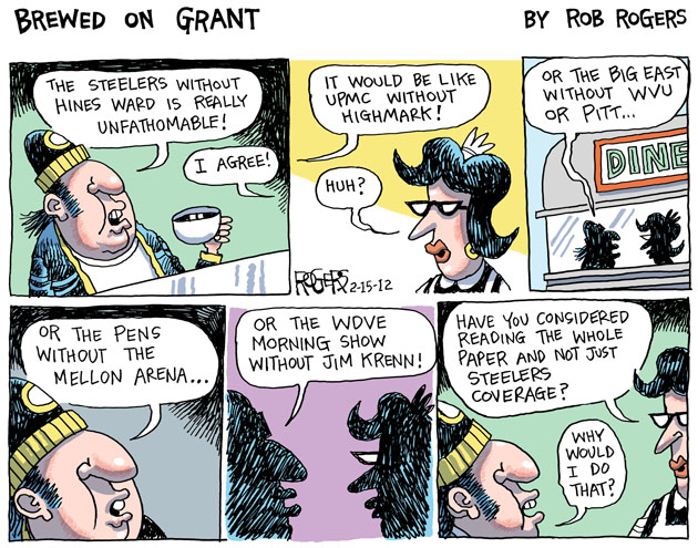 """Jim Krenn Hines Ward Rob Rogers Cartoon"""