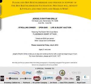 Ben Roethlisberger Foundation Fundraiser Jergel's