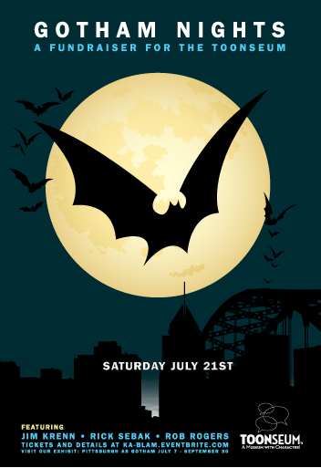 Gotham Nights, Jim Krenn, Pittsburgh, Pittsburgh entertainment, Batman: Dark Knight Rises, Pittsburgh as Gotham, Toonseum