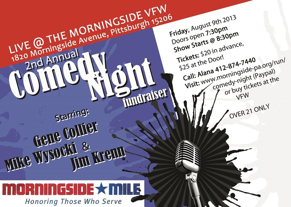Comedy Night, Fundraiser, Comedy Show, Pittsburgh entertainment, Jim Krenn, Gene Collier, Mike Wysocki, Morningside Mile, Morningside VFW